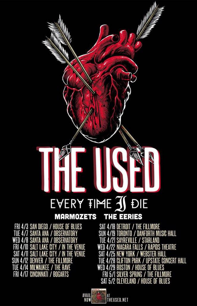 Every Time I Die announce Spring tour with The Used, Marmozets, The Eeries