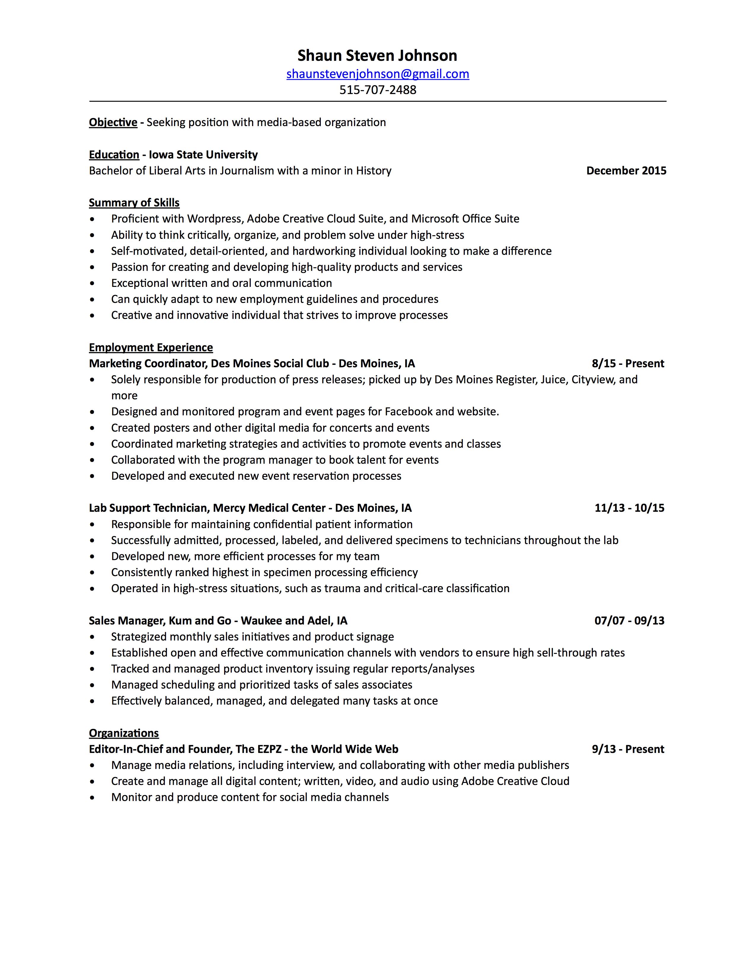 Shaun Johnson 2016 Resume