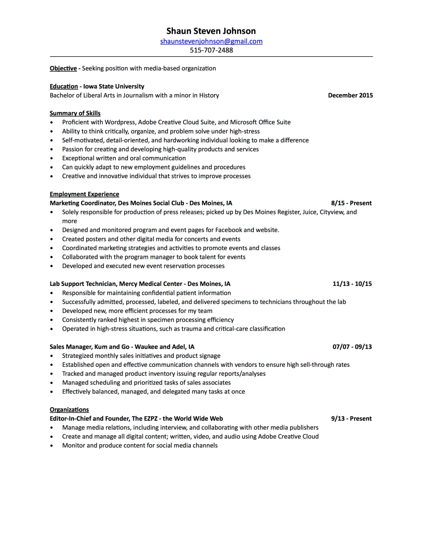 Shaun Johnson 2016 Resume
